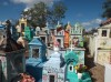 Colourful Cemetery at the Yucatan Mayan area, Isamal, State of Yucatan