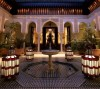 interior courtyard decoration. Arches and fountain, Marrakech, Riad