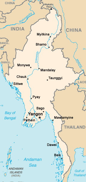 europe map cities. Map of Myanmar